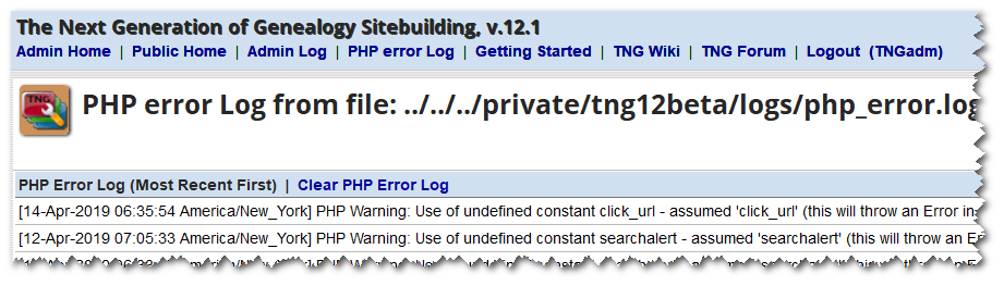 Show PHP error log display.png