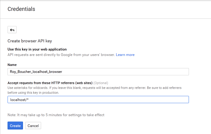Google map api v3 browser key localhost.png