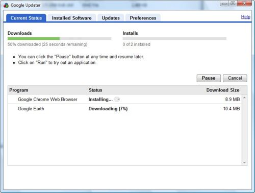 Google Updater download and install