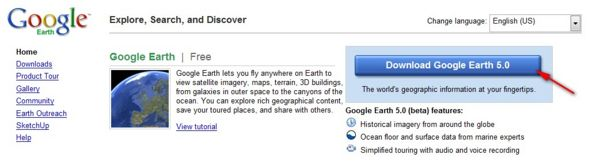 Google Earth Download site